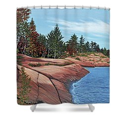 Shower Curtain featuring the painting Rocky River Shore by Kenneth M Kirsch