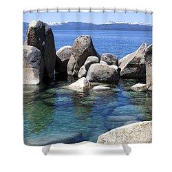 Rocky Shore Shower Curtain by Janet Fikar