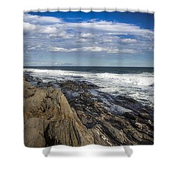 Rocky Shore Line Two Lights Maine  Shower Curtain