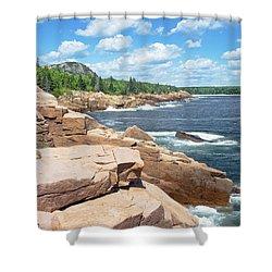 Rocky Summer Seascape Acadia National Park Photograph Shower Curtain