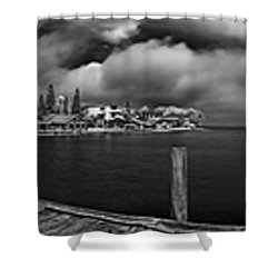 Rod And Reel Pier In Infrared Shower Curtain