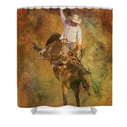 Rodeo Bronco Riding Three Shower Curtain