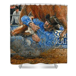 Rodeo Houston --steer Wrestling Shower Curtain