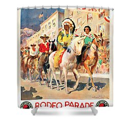 Rodeo Parade - Vintage Poster Restored Shower Curtain