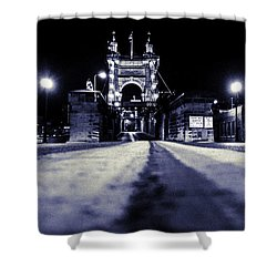 Roebling Suspension Bridge Shower Curtain by Keith Allen