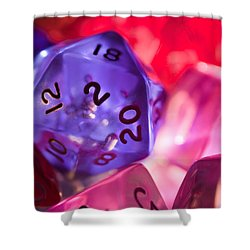 Role-playing D20 Dice Shower Curtain by Marc Garrido