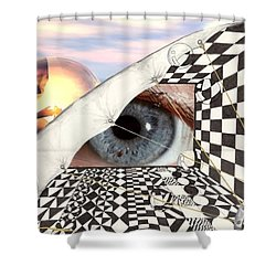 Shower Curtain featuring the digital art Roll Back by Darren Cannell