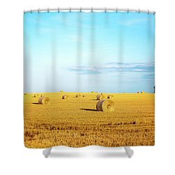 Shower Curtain featuring the photograph Rolled Hay by Onyonet  Photo Studios