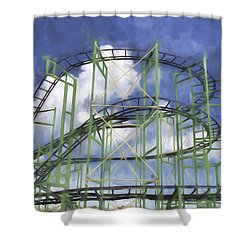 Shower Curtain featuring the photograph Roller Coaster Abstract by Gary Slawsky