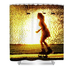 Rollerblading In Forest Park Shower Curtain by Garry McMichael