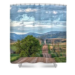 Rollercoaster Country Road Shower Curtain by Fiskr Larsen