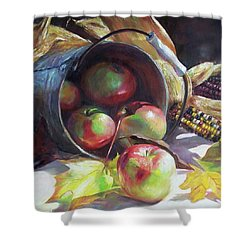 Rolling Apples Shower Curtain by Donna Munsch