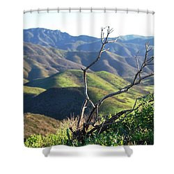 Shower Curtain featuring the photograph Rolling Green Hills With Dead Branches by Matt Harang