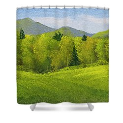 Shower Curtain featuring the painting Rolling Spring Pastures  by Frank Wilson