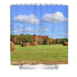 Rolls Of Hay On A Beautiful Day Shower Curtain