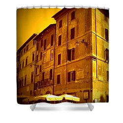 Roman Cafe With Golden Sepia 2 Shower Curtain by Carol Groenen