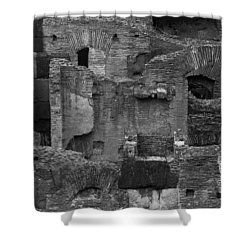 Shower Curtain featuring the photograph Roman Colosseum Bw by Silvia Bruno