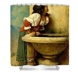 Roman Girl At A Fountain Shower Curtain