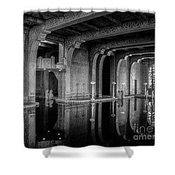Roman Pool, Black And White Shower Curtain