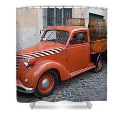 Roman Street Parking And Shopping Shower Curtain