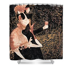 Shower Curtain featuring the painting Romance De Paris by Maya Manolova