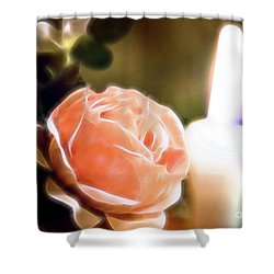 Shower Curtain featuring the digital art Romance In A Peach Rose by Linda Phelps