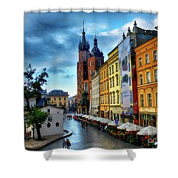 Romance In Krakow Shower Curtain by Kasia Bitner