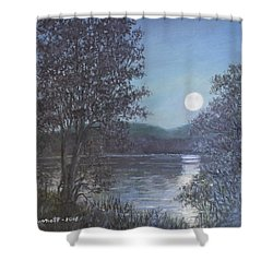 Shower Curtain featuring the painting Romance Of The Moon by Kathleen McDermott