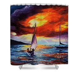 Shower Curtain featuring the painting Romancing The Sail by Darice Machel McGuire