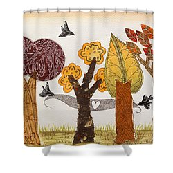 Romantic Autumnal Grove Shower Curtain