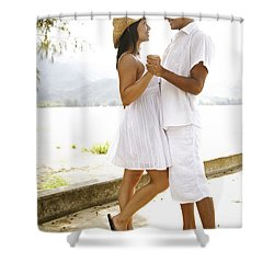 Romantic Couple In White Shower Curtain by Kicka Witte - Printscapes