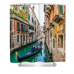 Romantic Gondola Scene On Canal In Venice Shower Curtain