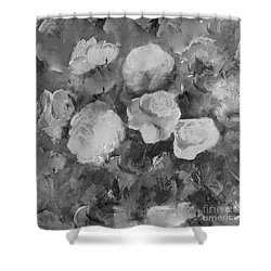 Shower Curtain featuring the painting Romantic Large Roses  by Robin Maria Pedrero