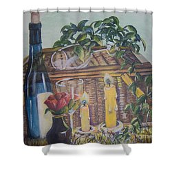 Shower Curtain featuring the painting Romantic Picnic by Saundra Johnson