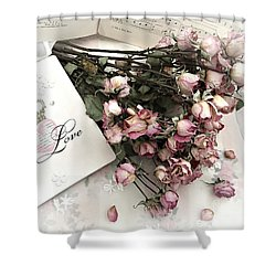 Shower Curtain featuring the photograph Romantic Pink Roses With Love Book - Shabby Chic Romantic Roses Love Books Decor Still Life  by Kathy Fornal