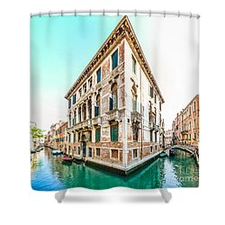 Romantic Scene In The Streets Of Venice Italy Shower Curtain