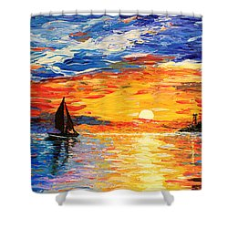 Shower Curtain featuring the painting Romantic Sea Sunset by Georgeta  Blanaru