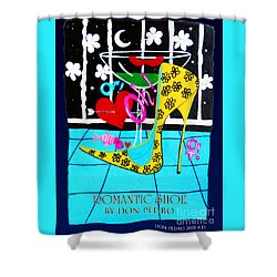 Shower Curtain featuring the painting Romantic Shoe by Don Pedro De Gracia