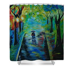 Shower Curtain featuring the painting Romantic Stroll by Leslie Allen