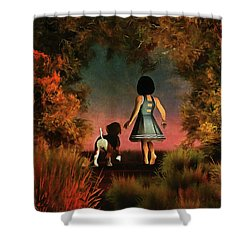 Romantic Walk In The Woods Shower Curtain