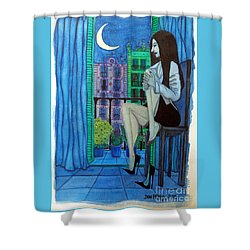 Shower Curtain featuring the painting Romantic Woman At Balcony by Don Pedro De Gracia