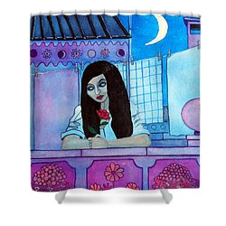Romantic Woman In The Terrace At Night Shower Curtain by Don Pedro De Gracia