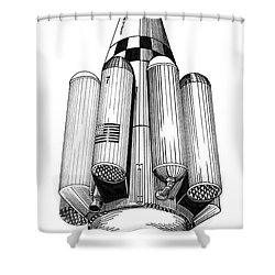 Rombus Heavey Lift Reusable Rocket Shower Curtain by Jack Pumphrey