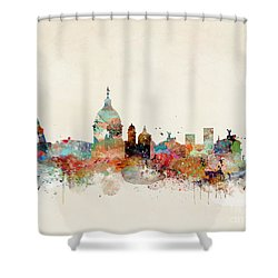 Shower Curtain featuring the painting Rome Italy Skyline by Bri B