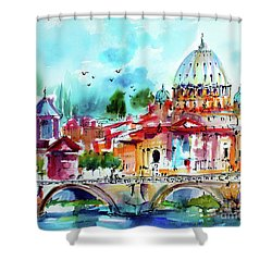 Rome Saint Peter Basilica St Angelo Bridge Shower Curtain