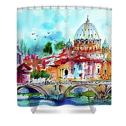 Shower Curtain featuring the painting Rome Saint Peter Basilica St Angelo Bridge by Ginette Callaway
