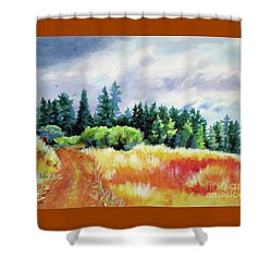 Shower Curtain featuring the painting Romp On The Hill by Kathy Braud