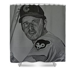 Shower Curtain featuring the drawing Ron Santo Portrait by Melissa Goodrich