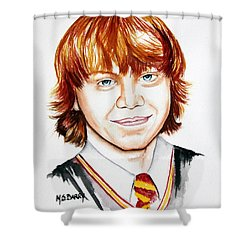 Ron Weasley Shower Curtain by Maria Barry