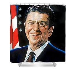 Ronald Reagan Portrait Shower Curtain by Robert Korhonen